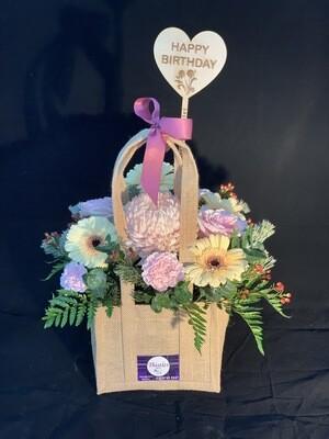 Hessian Floral Bag