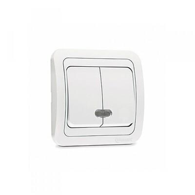 Выключатель, 2-х кл., с подсветкой, белый
