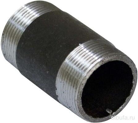 """Бочонок 1 1/2"""", штуцер/штуцер D=40мм, черная сталь"""