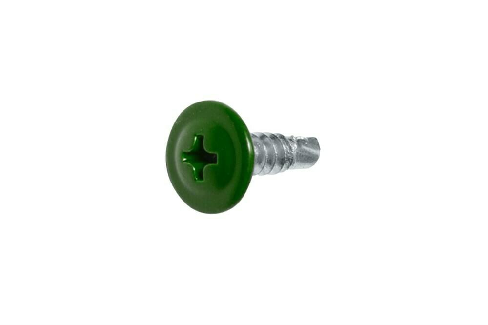Саморез с прессшайбой сверло 4,2мм*13мм (RAL-6002 Зеленый лист)