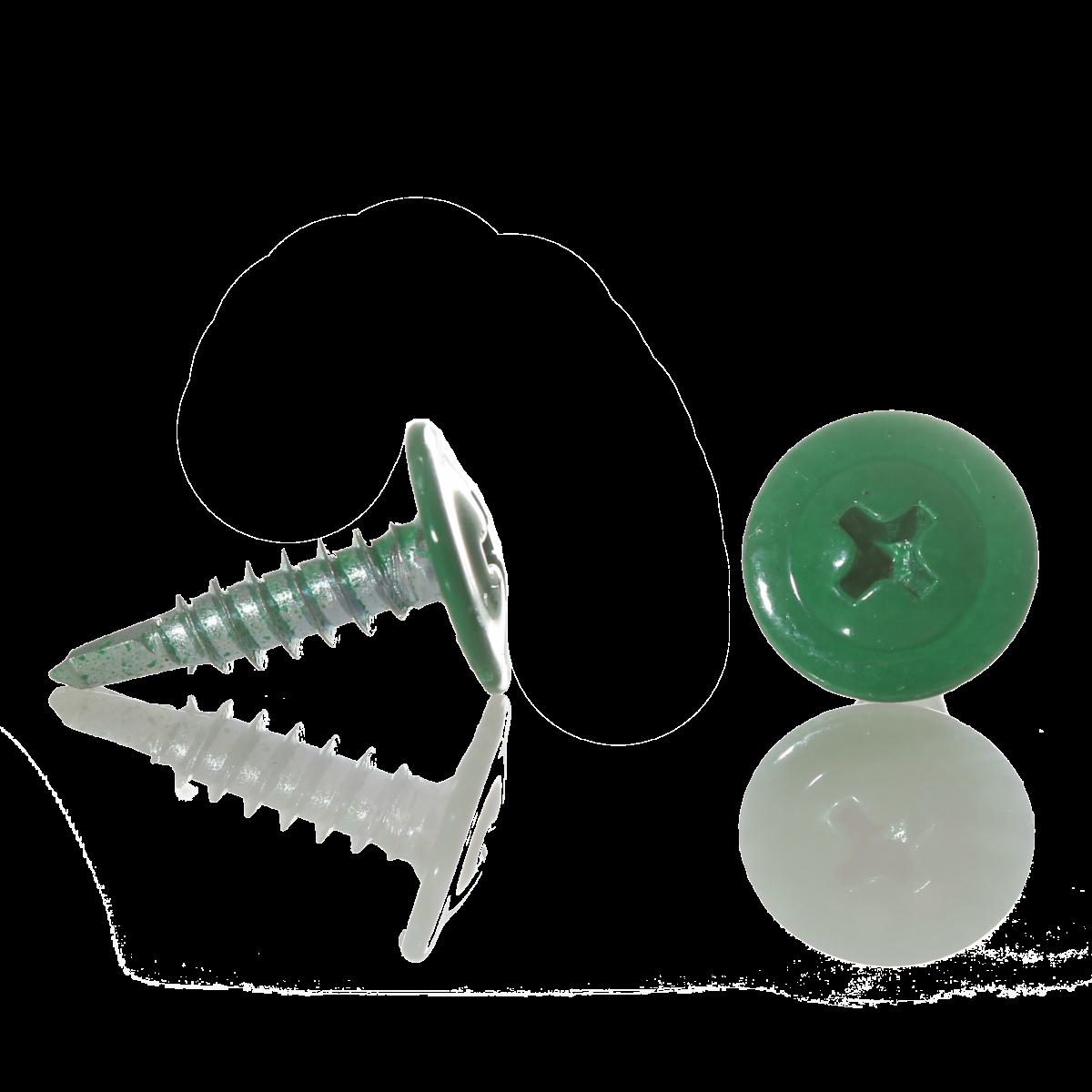 Саморез с прессшайбой острый 4,2мм*19мм (RAL-6026 Зеленый опал)
