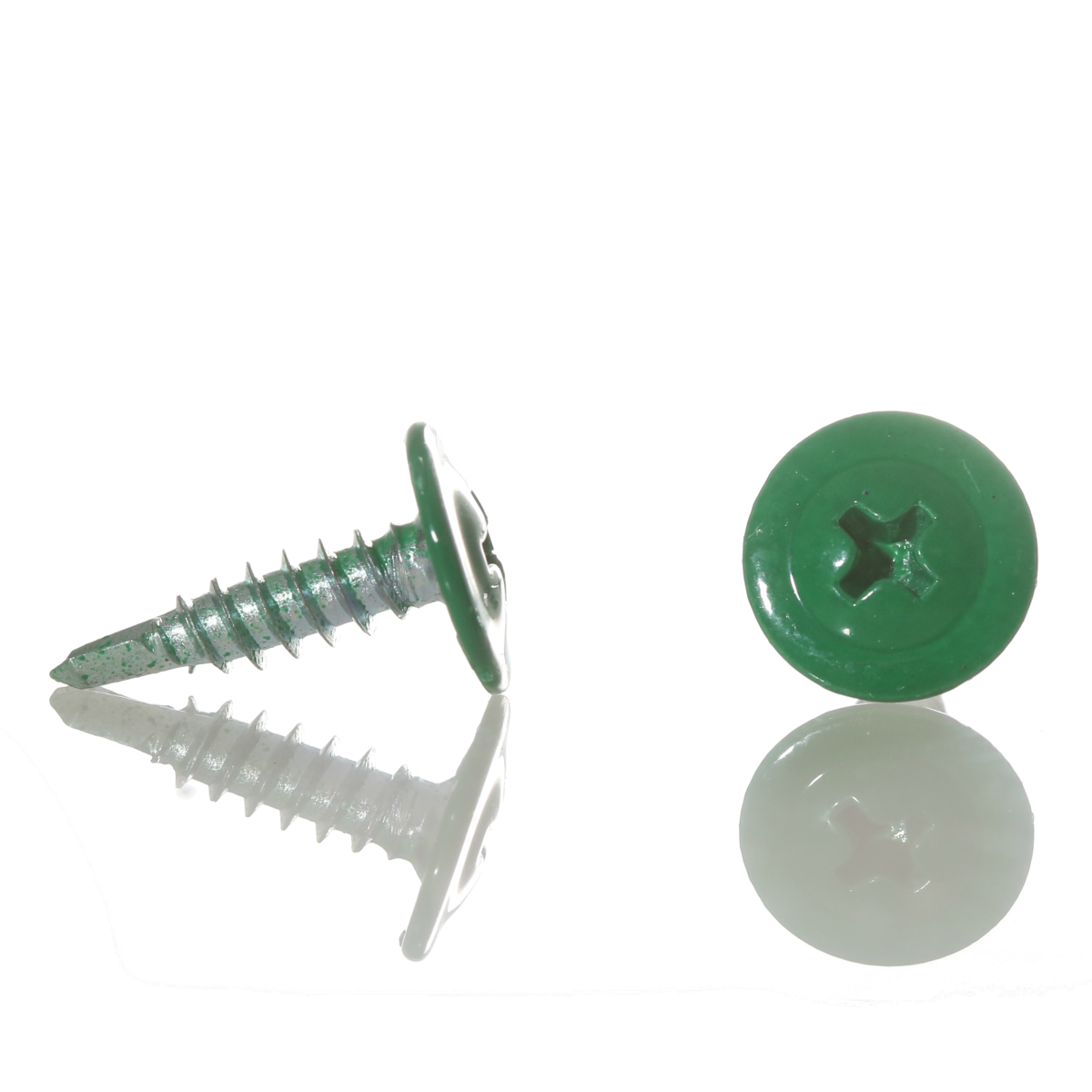 Саморез с прессшайбой острый 4,2мм*25мм (RAL-6026 Зеленый опал)
