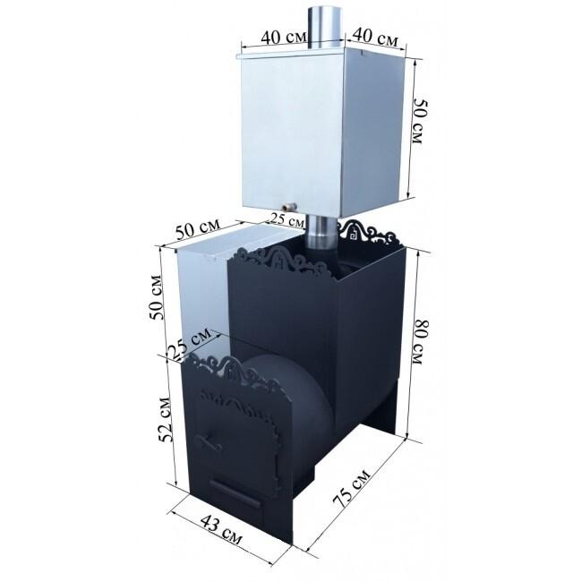 """Печь """"Уфимка"""" 426мм, с выносом (22м³)"""