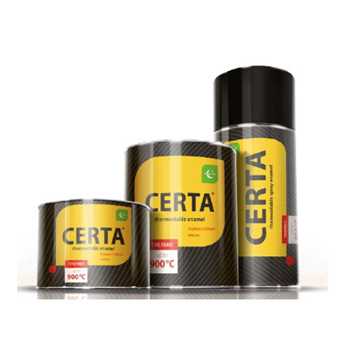 """Эмаль термостойкая ЧЕРНАЯ (0,8кг) до +650°C """"CERTA"""""""