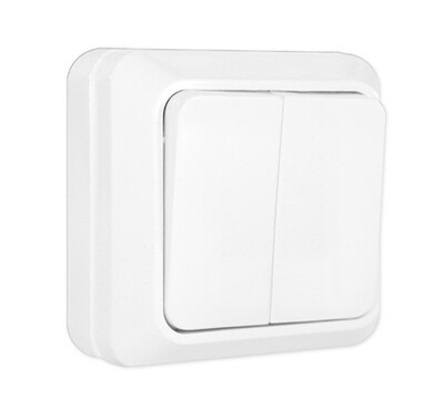 Выключатель наружный, 2-х кл., белый, (10А)