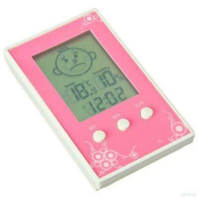 Термометр электронный с часами 10*6см пластик