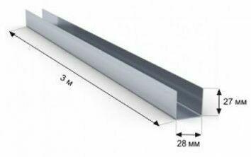 Профиль   направляющий 28мм*27мм Толщина-0,4мм (3 метра)