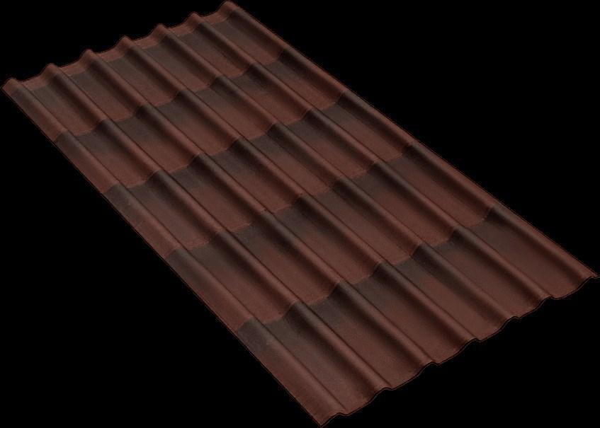 Черепица Ондулин коричневая 3.3 (1,95м*0,96м) (Пол. пл.= 1,56м²)