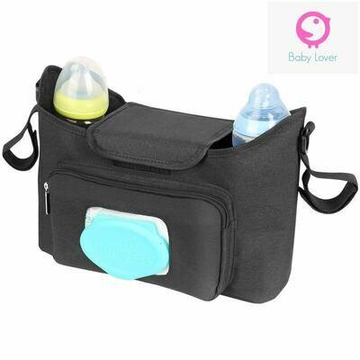 Универсален органайзер/чанта за бебешка количка с място за мокри кърпички Black Lux