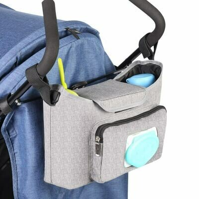Универсален органайзер/чанта за бебешка количка с място за мокри кърпички Silver Lux