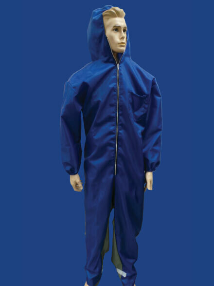 Blue Nylon Paint Suit with Hood