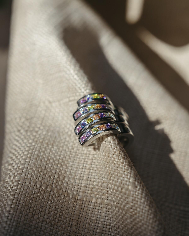 Argollita de Plata 925, con Piedras Multicolor