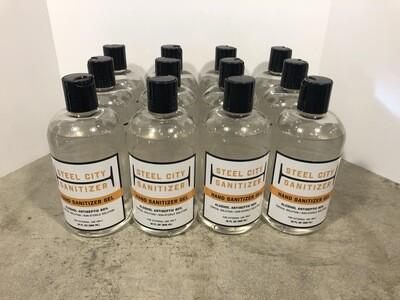 12 Pack of Steel City Sanitizer Gel - 12 oz. Flip Disc Top Bottles