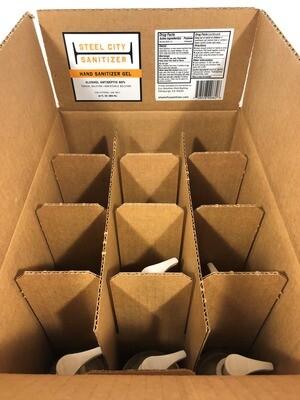 12 Pack of Steel City Sanitizer Gel - 12 oz. Pump Top Bottles
