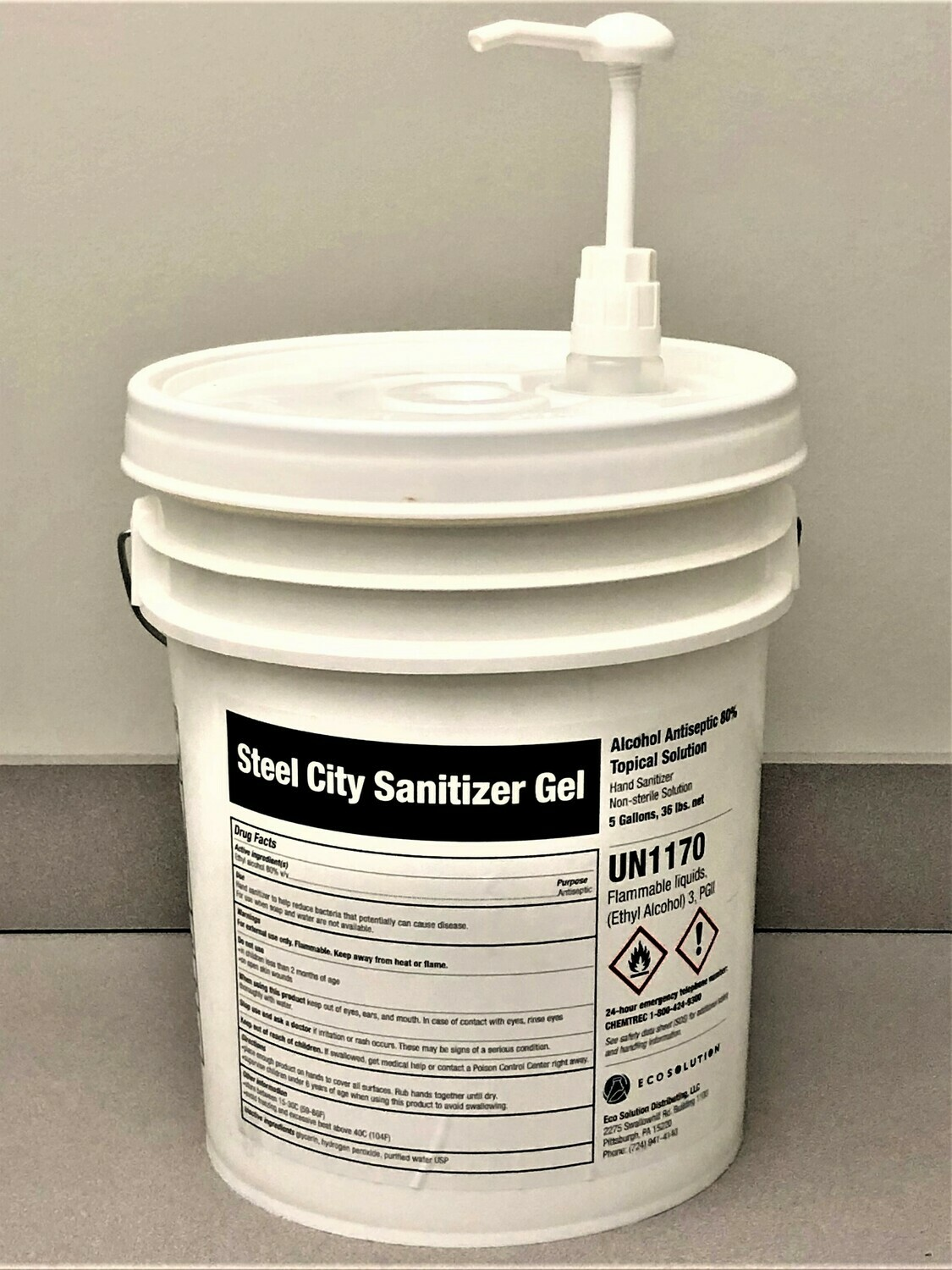 Steel City Sanitizer Gel - 5 Gallon UN Pail / Dispenser Station