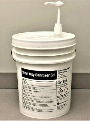 Steel City Sanitizer Gel - 5 Gallon UN Pail / Dispenser Station