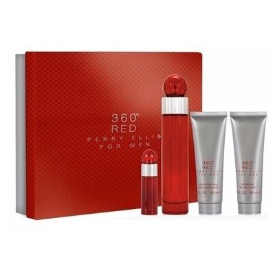 PERRY ELLIS 360 RED FOR MEN ESTUCHE 4 PZAS 100ML
