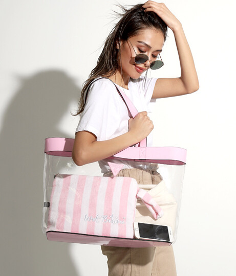 GUESS TOTE BEACH PINK