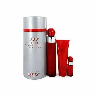 PERRY ELLIS 360 RED EST 3 PC HOMME/ SHOWER GEL 90ML- EDT100ML- EDT 7.5ML