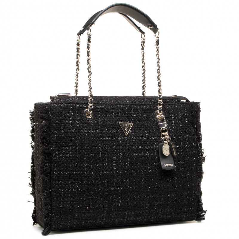 GUESS CESSILLY BLACK TWEED TOTE