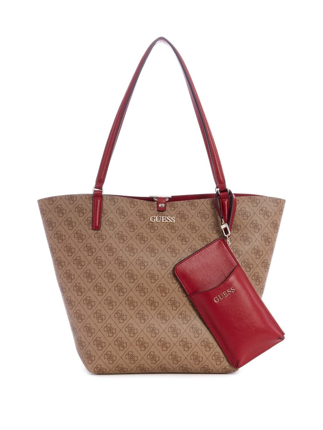 GUESS ALBY TOGGLE TOTE BROWN RED