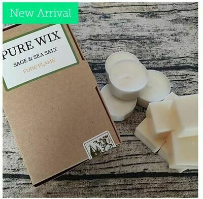 Sage & Sea Salt Wax Melts 8 Pack With 4 Tea Lights by Pure Wix