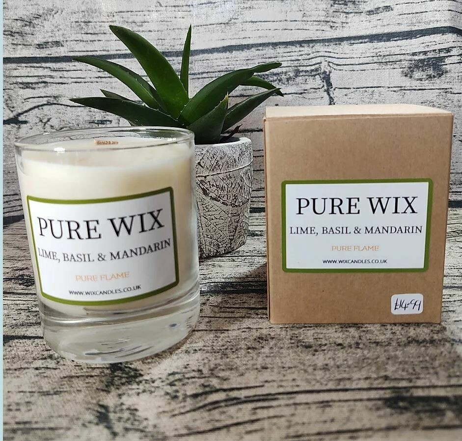 Lime, Mandarin and Basil Maple Wick Luxury Candle by Pure Wix