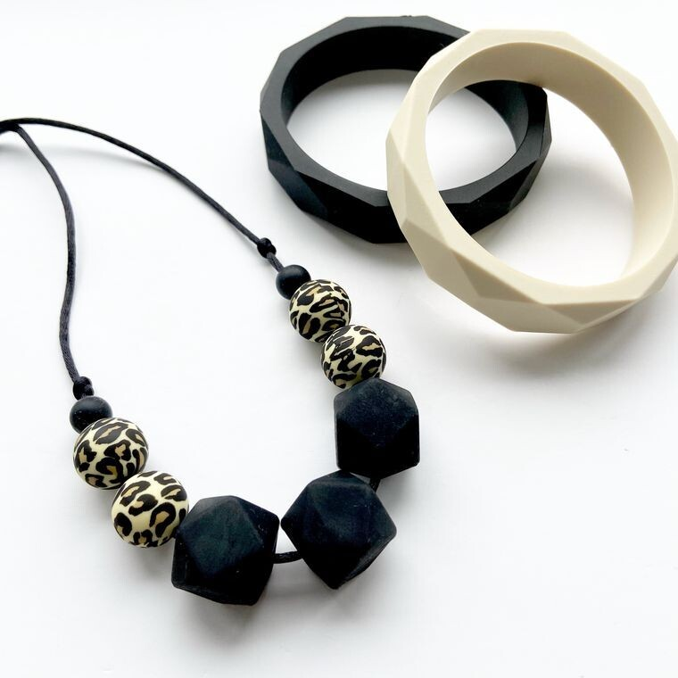 Black Leopard Silicone Teething Necklace