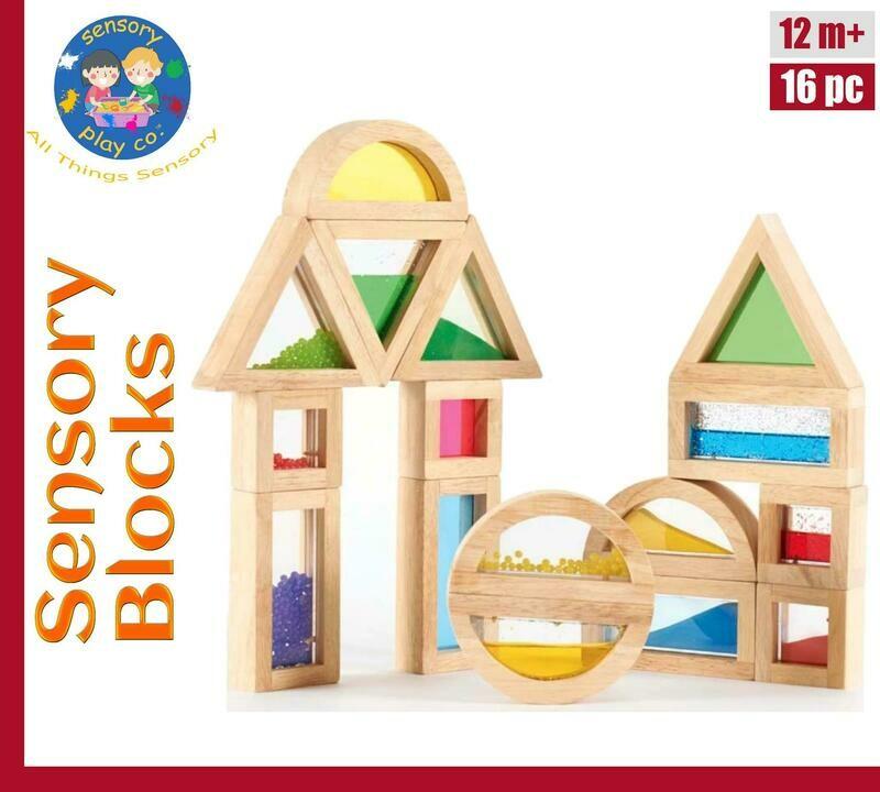 Sensory Blocks (16 pcs) – Wooden Large Blocks with Water, Beads, Sand Inserts