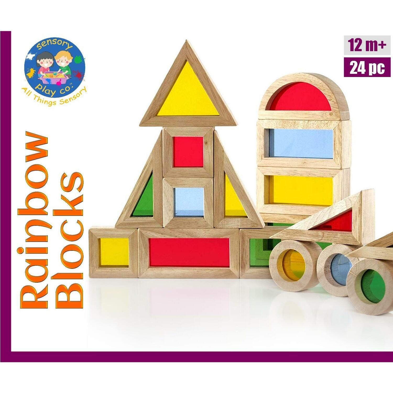 Rainbow Blocks (24 pcs) | Wooden Colorful Acrylic Blocks