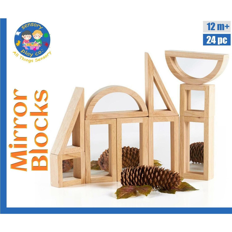 Mirror Blocks (24 pcs) | Wooden Reflective Mirror Blocks