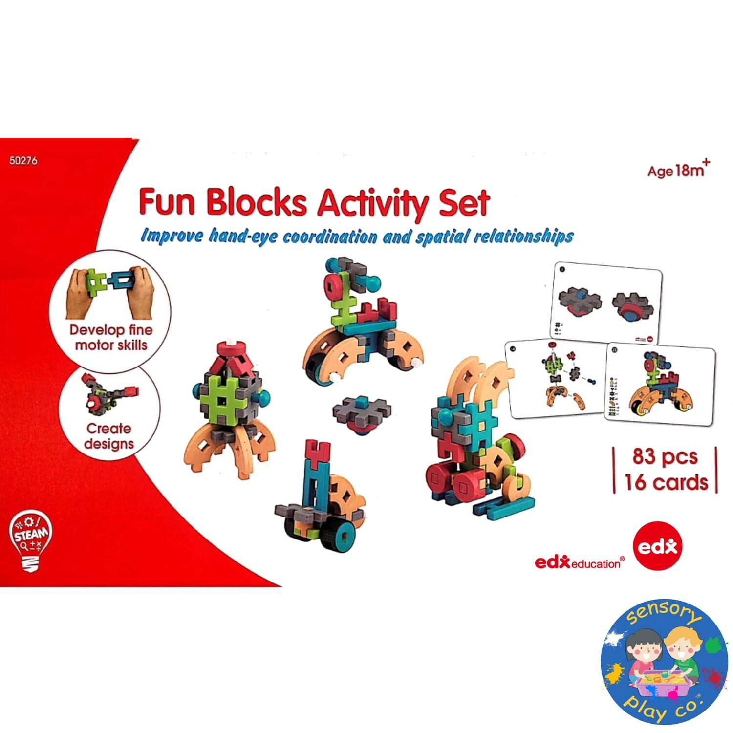 Fun Blocks Activity Set (83 pcs, 16 double-sided Activity cards)