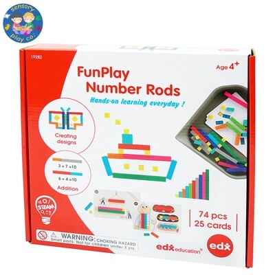 FunPlay Educational Number Rods (74 rods, 1 small tray and 25 double-sided activity cards)