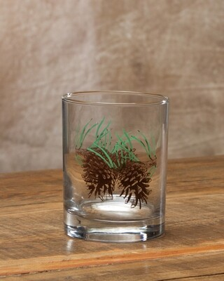 14oz whiskey, set of 4, pine cone