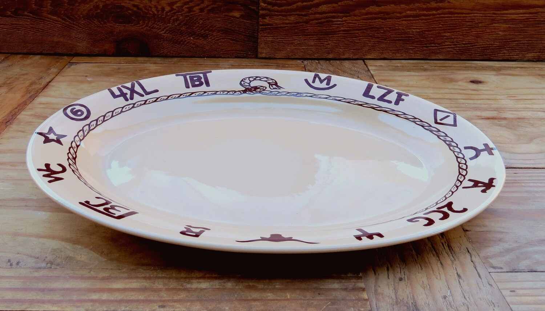 14 inches oval serving/steak platter, branded