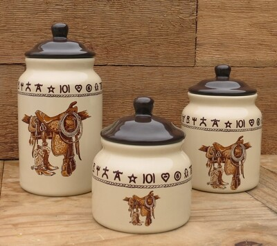 3 piece canister set, boots & saddle