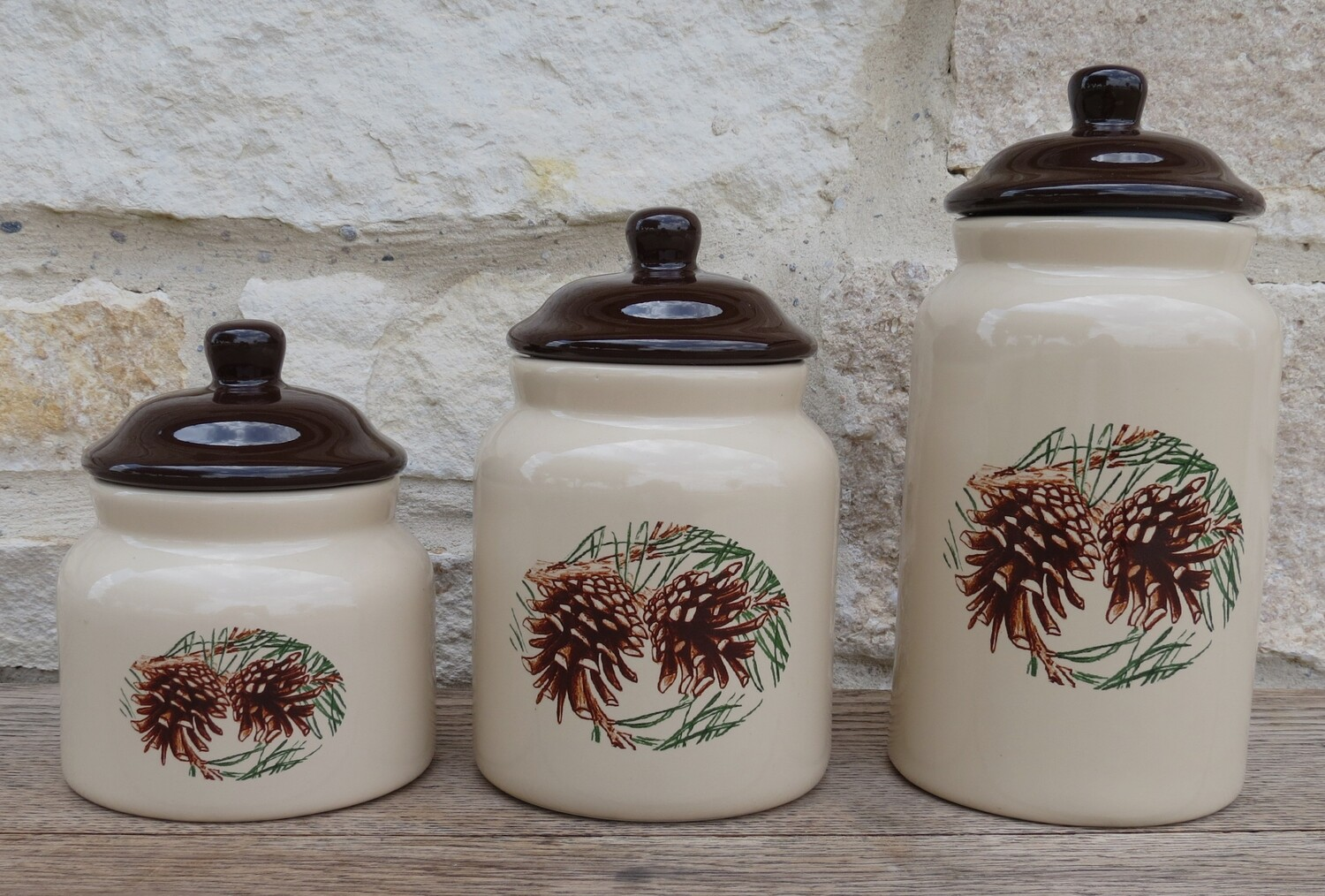 3 piece canister set. pine cone