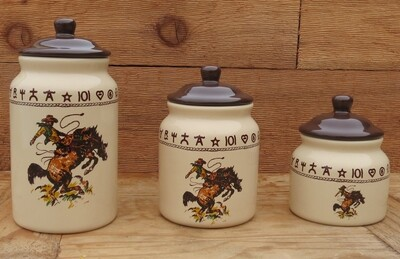 3 piece canister set, bronco