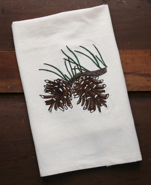 Kitchen towels, 4 pieces, pine cone