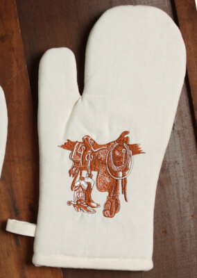 Oven mitts, 2 pieces, boots & saddle