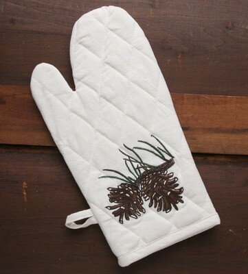 Oven mitts, 2 pieces, pine cone