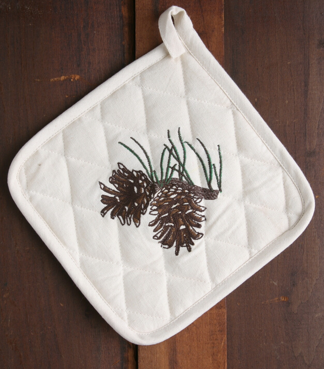 Pot holder, 2 pieces, pine cone