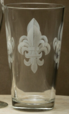 20oz pint, set of 4, fleur de lis grey