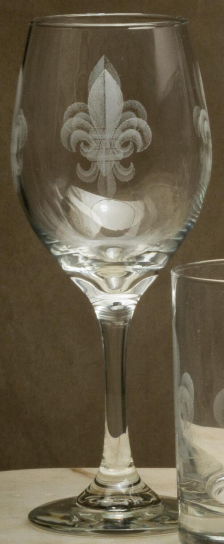 11 oz wine, set of 4, fleur de lis grey
