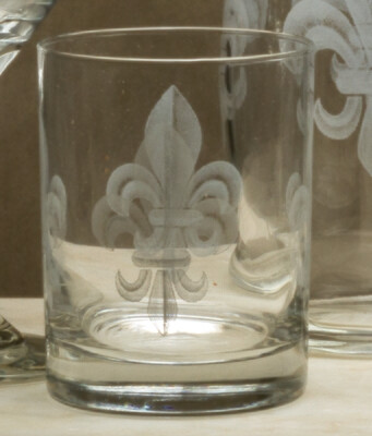 14oz whiskey, set of 4, fleur de lis grey