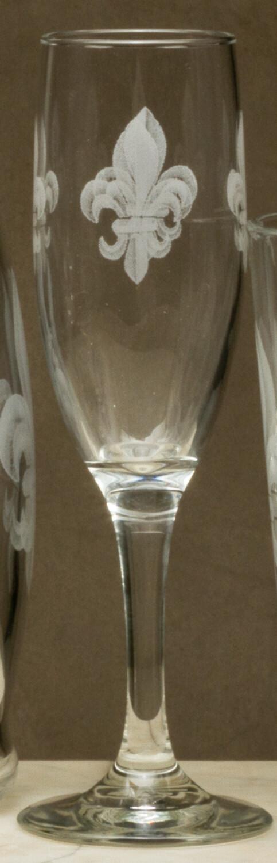 6oz champagne, set o 4, fleur de lis grey