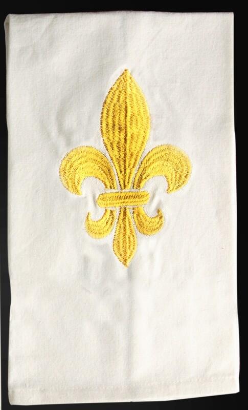 Kitchen towels fleur de lis gold, set of 4