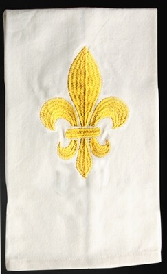 Kitchen towels fleur de lis gold, set of 4