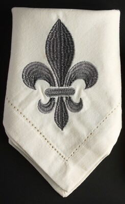 Napkins fleur de lis grey, set of 4