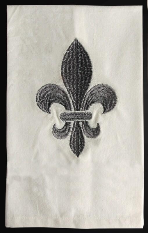 Kitchen towels fleur de lis gray, set of 4